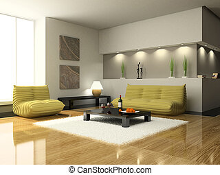 salle séjour, moderne, vue