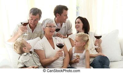 salle séjour, vin, biscuits, famille, boire, manger