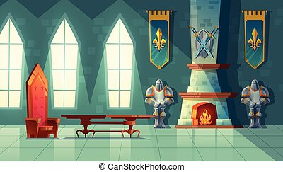 salle, salle bal, royal, vecteur, intérieur, château