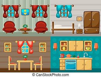 salle, salle, -, kitchen., quatre, dîner, vecteur, chambre à coucher, salles, dessin