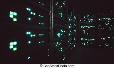 salle serveur, intérieur, propre, industriel, données, serveurs