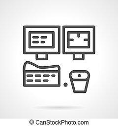 salle, simple, équipement, vecteur, mri, ligne, icône