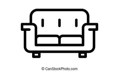 salle, sofa, icône, animation
