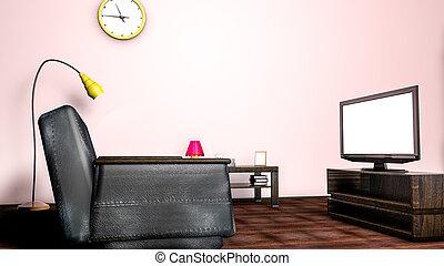salle, sofa, rendre, tv., intérieur, 3d