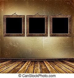 salle, style, intérieur, baroque, cadres, vieux, grunge