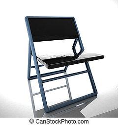 salle, sur, refléter, fond, chaise, réunion, blanc