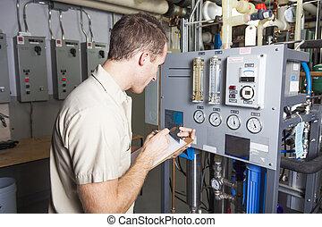 salle, système, chauffage, chaudière, inspection, technicien
