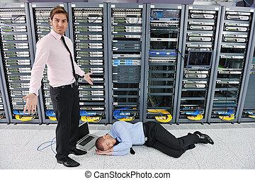 salle, système, serveur, échouer, situation, réseau