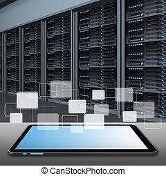 salle, tablette, serveur, données ordinateur, centre