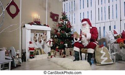 salle, tablette, virages, arbre, page, santa, gifts., cheminée, noël
