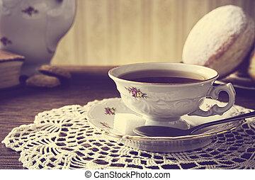 salle, tasse, thé, démodé, serviette, beignet
