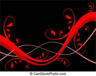 salle, texte, résumé, sytylized, illustration, conception, fond, floral, noir, horizontal, rouges