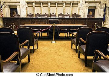 salle, tribunal
