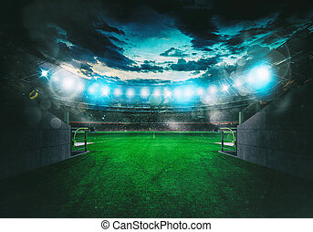 salle, tunnel, casier, sortie, stade, vu, football