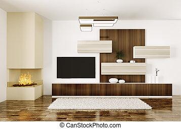 salle, tv, cheminée, intérieur, plasma, 3d