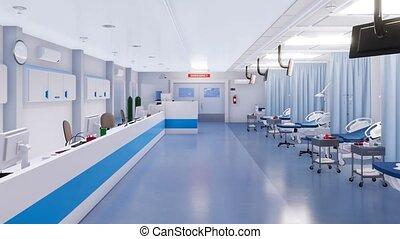 salle, urgence, non, hôpital, gens, intérieur