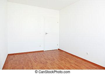 salle vide, à, blanc, porte