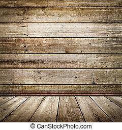 salle vide, à, plancher bois, et, mur