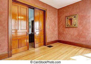salle vide, dans, rouge clair, couleur, à, diapo, porte ouverte
