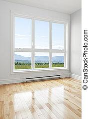 salle vide, et, été, paysage, vu, par, les, fenêtre