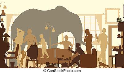 salle, vivant, éléphant