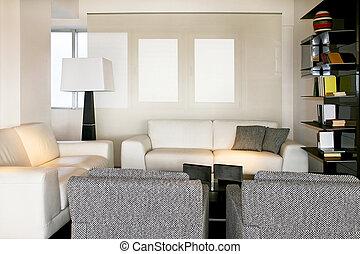 salle, vivant, blanc