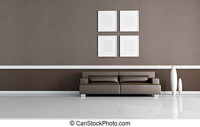 salle, vivant, brun