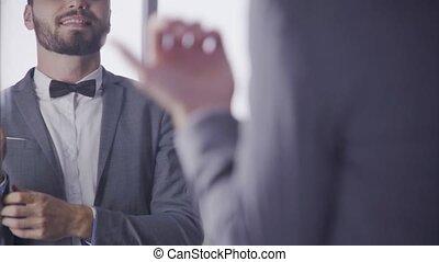 salle, wedding., travail, ou, homme, assaisonnement, obtenir...