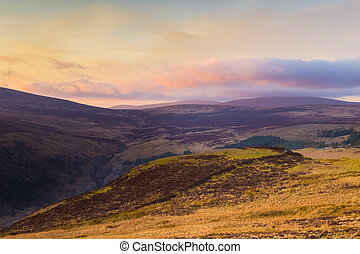 Sally Gap in Wicklow Mountains at sunset