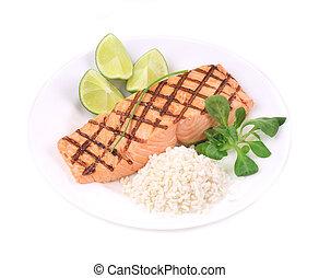 salmão assado, filetes, com, rice.