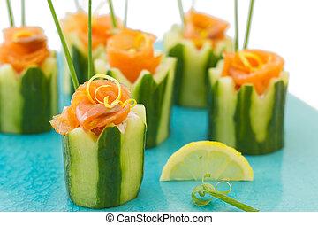salmão, e, pepino, aperitivo