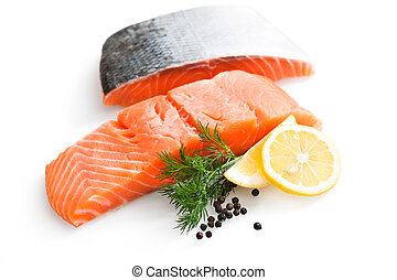 salmão fresco, com, salsa, e, fatias limão