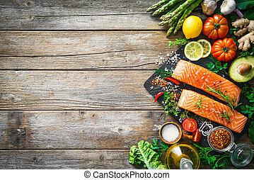salmão fresco, filete, com, aromático, ervas, temperos, e,...