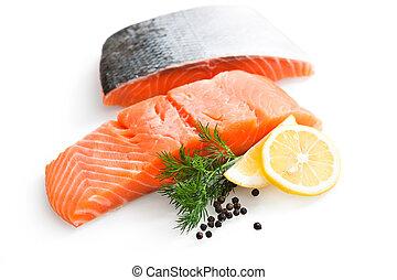 salmão, fresco, limão, salsa, fatias