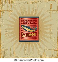 salmão, retro, lata