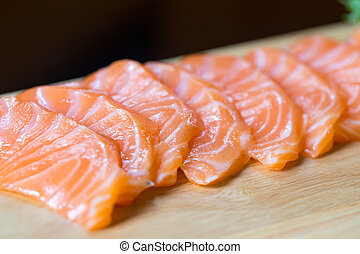 salmão, sashimi, alimento japonês