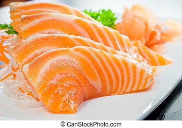 salmão, sashimi, ou, abanar, /, causa, servido, com, preservado, gengibre