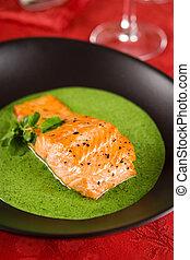 salmón, con, berro, salsa