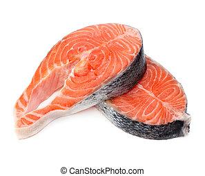 salmón, filete, pez, fresco, crudo
