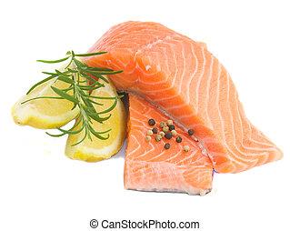 salmón, filetes