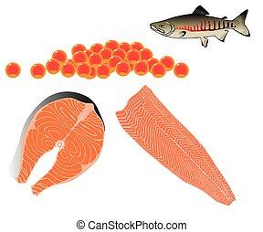 salmón, pez, caviar