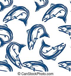 salmón, pez, seamless, patrón
