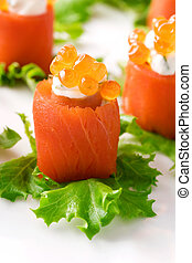 salmón, rollos