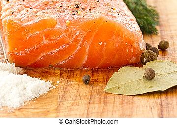 salmón, salado