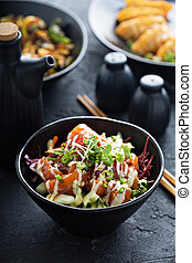 salmón, vegetales, atizar, tazón