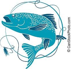 salmón, y, cebo, para, pesca