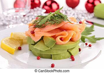 salmon and avocado with christmas decoration