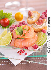 salmon and canape