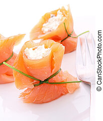 salmon and cheese, appetizer