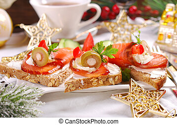 salmon and cheese canapes for christmas - smoked salmon and...